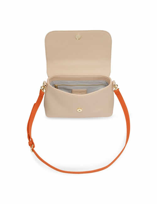 Katie Loxton - Talia Two Tone Messenger Bag - Burnt Orange and Tan - Open