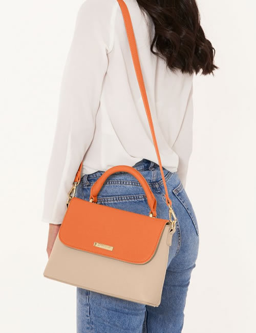 Katie Loxton - Talia Two Tone Messenger Bag - Burnt Orange and Tan - Overshoulder