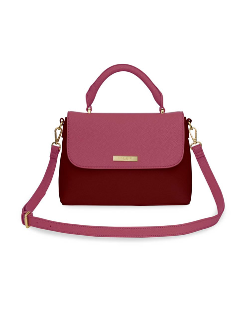 Katie Loxton - Talia Two Tone Messenger Bag - Light Burgundy and Dark Burgundy - Front