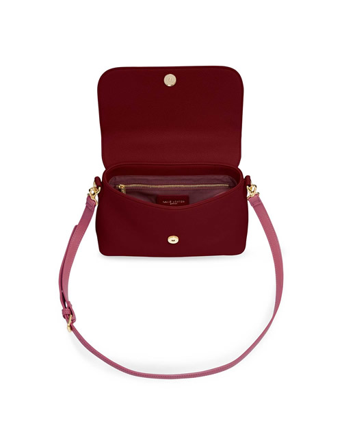 Katie Loxton - Talia Two Tone Messenger Bag - Light Burgundy and Dark Burgundy - Open