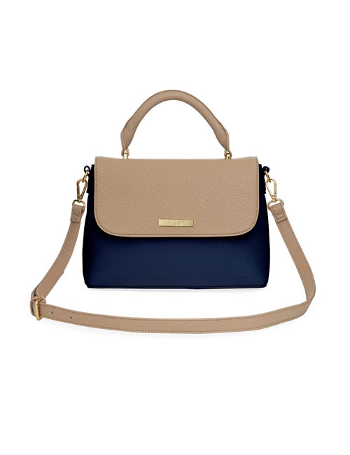 Katie Loxton - Talia Two Tone Messenger Bag - Navy and Caramel - Front