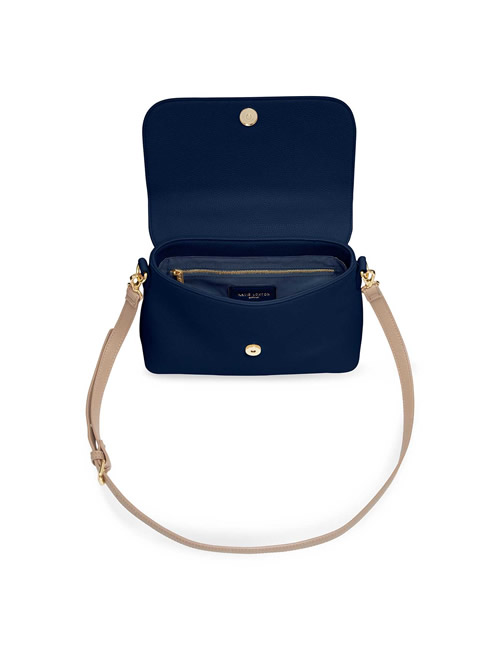 Katie Loxton - Talia Two Tone Messenger Bag - Navy and Caramel - Open