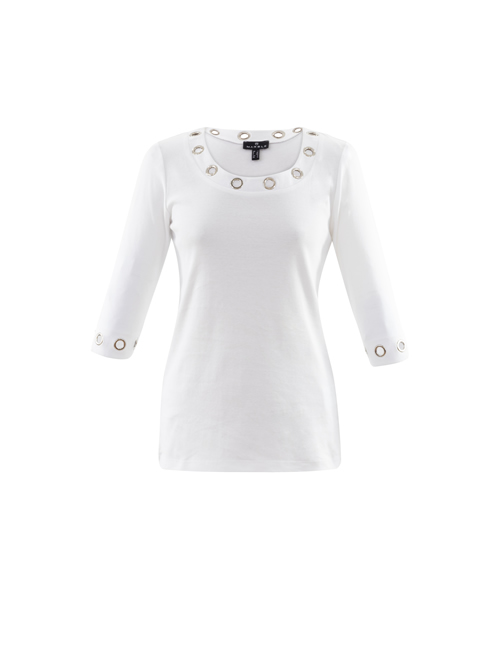 Marble - Eyelet Round Neck Top - 6057 - 102