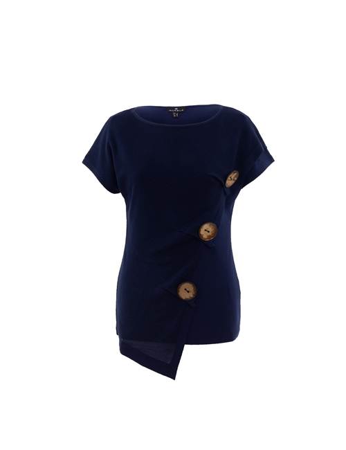 Marble - Round Neck T-Shirt with 3 Buttons - 6067 - 103