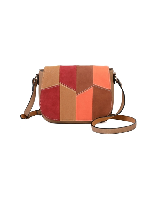 Milan Fashion - Faux Suede & Faux Leather Flap Over Bag - Apricot