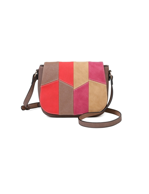 Milan Fashion - Faux Suede & Faux Leather Flap Over Bag - Pink