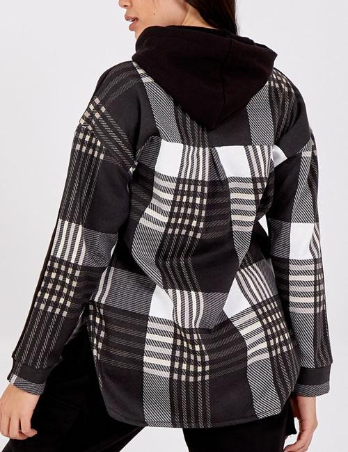 Nova - Check Hooded Fleece Shirt - Black - Back
