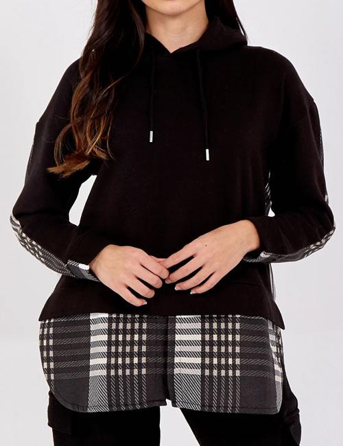 Nova - Check Hooded Fleece Shirt - Black - Front