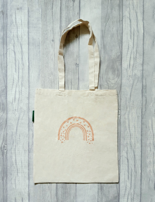 IMO - Rose Gold Rainbow Tote Bag Front