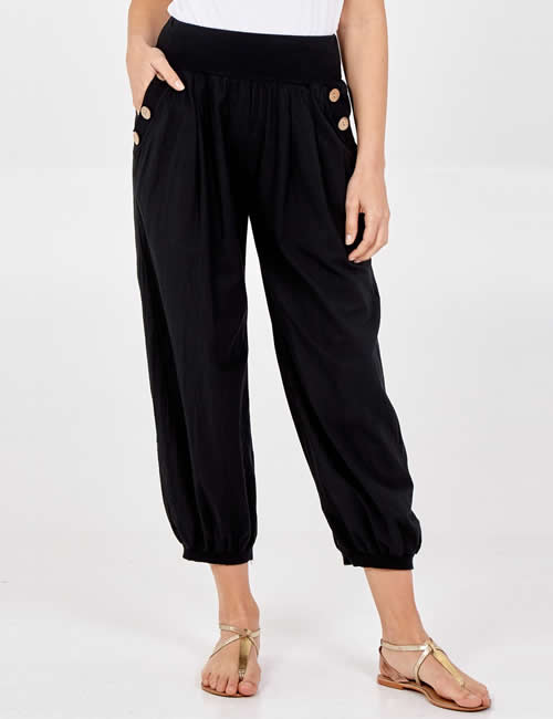 Nova - Button Pocket Harem Pants Black Detail