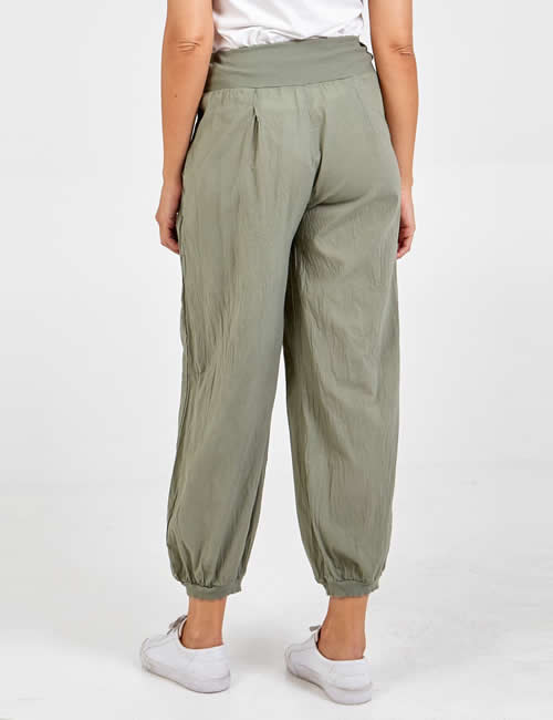 Nova - Button Pocket Harem Pants Khaki Back