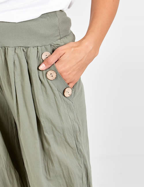 Nova - Button Pocket Harem Pants Khaki