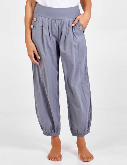Nova - Button Pocket Harem Pants Mid Grey Detail