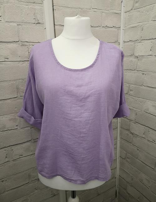 Colette - Linen Top - Lilac