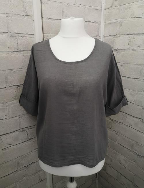 Colette - Linen Top - Mid Grey