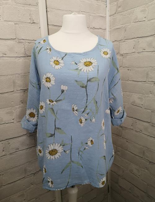 LVE Clothing -Daisy Linen Top - Blue