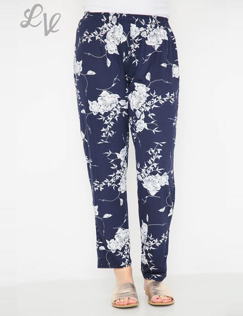 LVE Clothing - Floral Leaf Trouser Navy