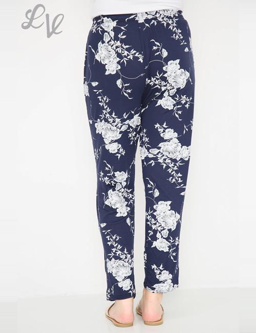LVE Clothing - Floral Leaf Trousers Navy Back