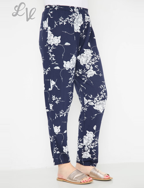LVE Clothing -Floral Leaf Trousers Navy Side
