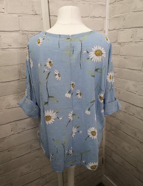 LVE Clothing - Linen Top Blue -Back