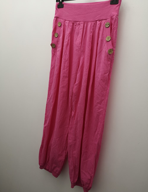 Nova- Button POcket Harem Pants - Hot Pink