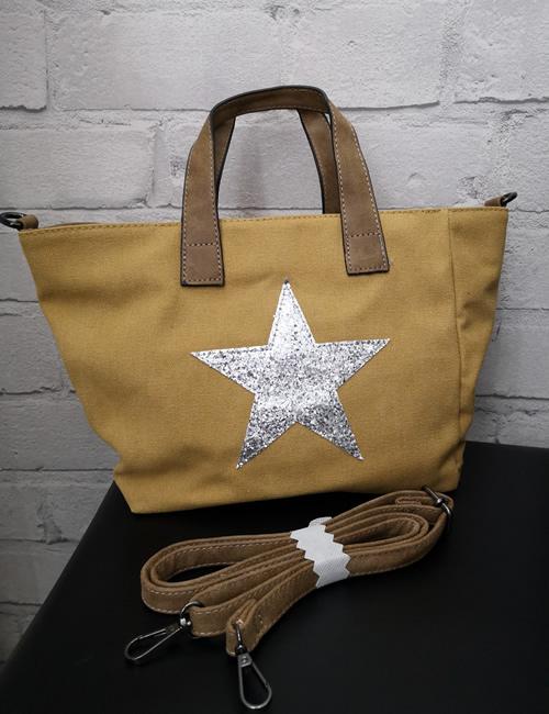 Milan Fashion - Shoulder Star Bag - Mustard and strap