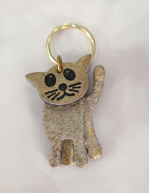Abi Williams - Gold Cat Keyring