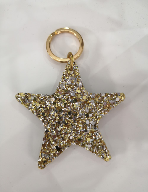 Abi Williams - Gold Sparkle Star Keyring
