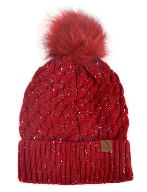 Selini New York -Speckled Pom Pom Hat - Red